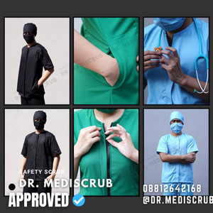 Harga baju jaga ready stock premium baju oka dokter bidan dan perawat zipper   hitam | HARGALOKA.COM