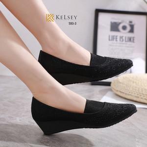 Harga wedges sepatu wanita kelsey import kanvas pesta kerja branded 593 3   black | HARGALOKA.COM
