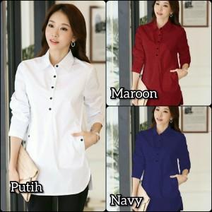 Harga kemeja cewek putih rapi baju hem pakaian wanita rumahan dan | HARGALOKA.COM
