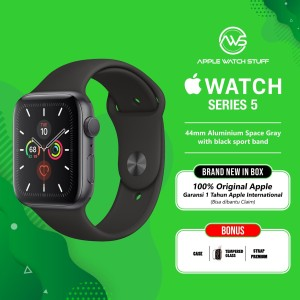 Harga apple watch series 5 44mm aluminium space grey with black sport band   full   HARGALOKA.COM