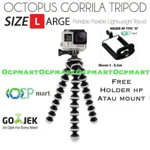 Harga octopus gorilla large size tripod with mount gorillapod gopro xiaomi   bonus holder   HARGALOKA.COM