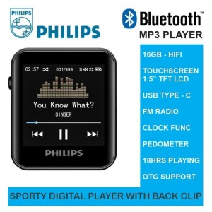 Harga bluetooth mp3 player 16gb hifi sporty with back clip   philips | HARGALOKA.COM