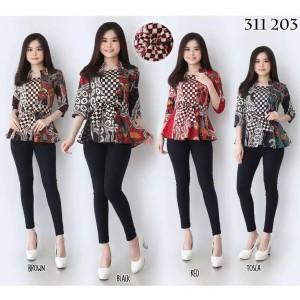 Harga dress baju atasan batik kerja kantor wanita cewek modern murah 0109   gambar | HARGALOKA.COM