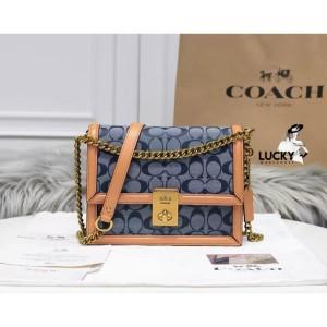 Harga coach hutton shoulder bag in signature chambray   original 100 | HARGALOKA.COM