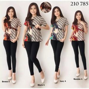 Harga dress baju atasan batik kerja kantor wanita cewek modern murah 035   foto | HARGALOKA.COM