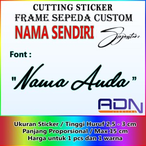 Harga cutting sticker frame sepeda motor nama tanda tangan brompton dll   | HARGALOKA.COM