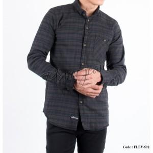 Harga kemeja flanel pria motif kotak hem flannel cowok slimfit flev592     HARGALOKA.COM