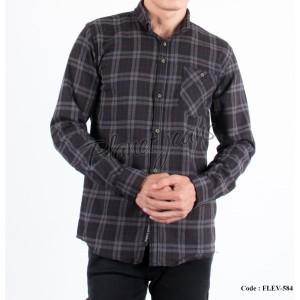 Harga kemeja flanel pria motif kotak hem flannel cowok slimfit flev584     HARGALOKA.COM