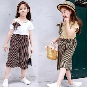 Harga setelan baju anak perempuan import gaya korea celana size 2 7 th   coklat | HARGALOKA.COM