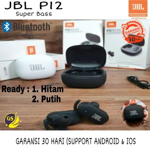 Harga headset bluetooth jbl p12 tws original purebass wireless earphone p 12   | HARGALOKA.COM