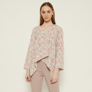 Harga cammomile blouse atasan wanita 1807010sp corak bunga lengan panjang   green | HARGALOKA.COM