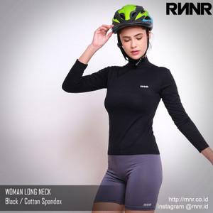 Harga baju sepeda wanita bahan katun spandex model long neck   hitam | HARGALOKA.COM