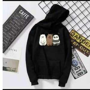 Harga jaket hoodie pria wanita we bare bears bahan cotton fleece terlaris   putih | HARGALOKA.COM