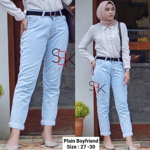 Harga plain boyfriend jeans plant baggy pants baggy pant basic   | HARGALOKA.COM