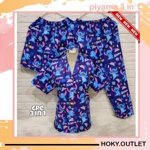 Harga hoky outlet piyama 3 in 1 baju tidur motif stitch aloha fit to xl   biru one   HARGALOKA.COM