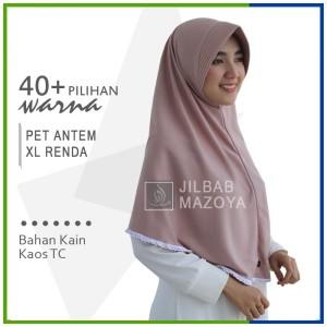 Harga jilbab instan pet antem renda xl hijab kaos bergo pet renda size | HARGALOKA.COM
