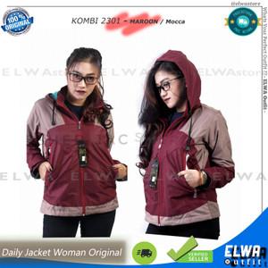 Harga new two tone 1 jaket harian wanita jaket motor sporty cewek original   maroon mocca | HARGALOKA.COM