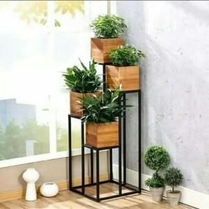 Harga 1 set rak dan pot tanaman hias partisi sketzel penyekat | HARGALOKA.COM