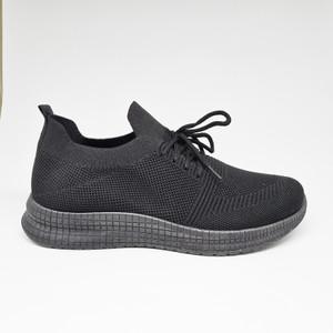 Harga sepatu impor sneakers pria cowok tali flyknit casual sport p019   hitam | HARGALOKA.COM