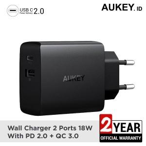 Harga aukey charger 2 ports 18w pd 2 0 amp qc 3 0   | HARGALOKA.COM