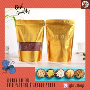 Harga aluminium foil standing pouch gold window 12x20 kemasan makanan | HARGALOKA.COM