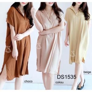Harga ds1535   dress coklat susu only | HARGALOKA.COM