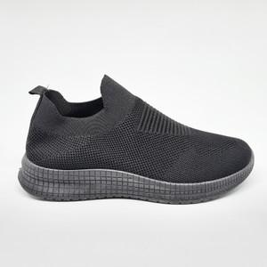 Harga sepatu impor sneakers pria cowok tanpa tali flyknit casual sport p020   hitam | HARGALOKA.COM