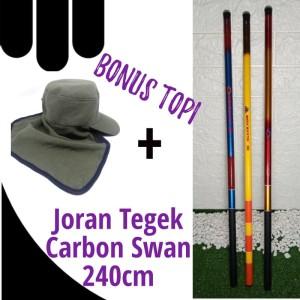 Harga promo joran tegek carbon swan 240cm topi pancing   toko | HARGALOKA.COM
