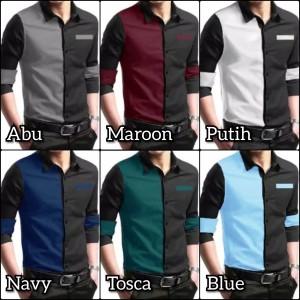 Harga baju kemeja pria casual hem cowok model combo depan pakaian | HARGALOKA.COM