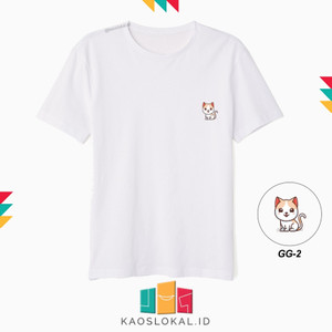 Harga kaos icon character kucing cute gg2 kaos distro kaos bergambar   putih | HARGALOKA.COM