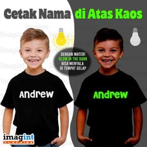 Harga baju kaos anak bayi dan balita custom nama sablon glow in the | HARGALOKA.COM