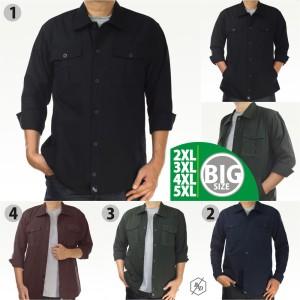 Harga kemeja parka semi jaket panjang pria big size jumbo casual kerja cowok   hitam | HARGALOKA.COM
