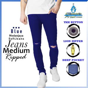 Harga gammaprod blue slimfit celana jeans pria medium ripped   blue 27 28   HARGALOKA.COM