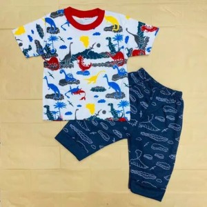 Harga 6 24 bln setelan baju anak laki laki motif dino lava   | HARGALOKA.COM