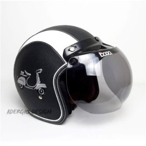 Harga helm bogo dewasa sni   full kulit motif vespa hitam list putih   bogo   HARGALOKA.COM