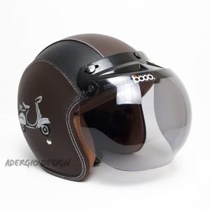 Harga helm bogo motif vespa coklat listhitam full kulit retro klasik   jp   HARGALOKA.COM