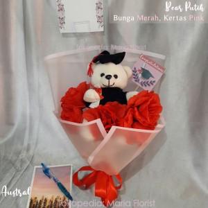 Harga buket bunga boneka wisuda graduation mini buket boneka bear toga   merah | HARGALOKA.COM
