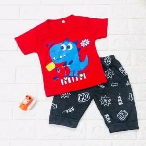 Harga 6 bln   5 thn setelan baju anak laki laki motif dino biru ok go   | HARGALOKA.COM
