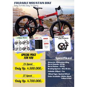Harga sepeda gunung lipat macce mtb folding mountain bike 26 34 velg racing   24 speed hitam palang | HARGALOKA.COM