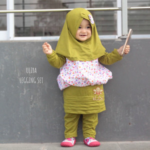 Harga baju muslim anak perempuan   setelan baju anak muslim   uliya set   hijau 1 2 | HARGALOKA.COM