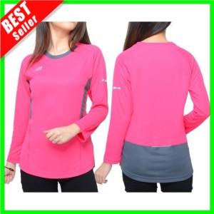 Harga baju lengan panjang olahraga kaos wanita hijab senam lari fitness gym   magenta nb02 | HARGALOKA.COM
