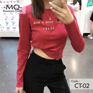 Harga kaos wanita import   baju atasan cewek bodyfit crop top lengan panjang   | HARGALOKA.COM