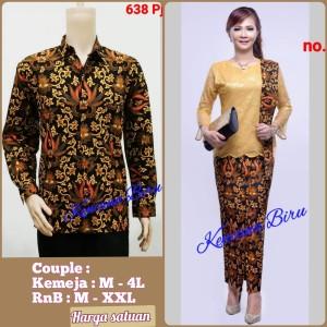 Harga 638 couple batik kemeja pria m  bigsize 4l rnb wanita m  xxl   cokelat kemeja   HARGALOKA.COM