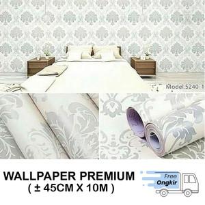Harga wallpaper dinding stiker walpaper dinding batik silver hijau 45cmx10m   | HARGALOKA.COM
