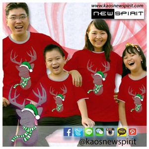 Harga new spirit kaos couple keluarga natal rusa rudolph   merah men | HARGALOKA.COM