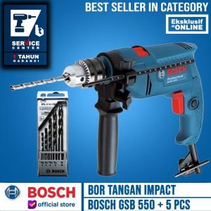 Harga bosch mesin bor tangan gsb 550 dengan mata bor multi 5 pcs | HARGALOKA.COM