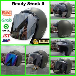 Harga helm retro bogo jpn retro arc original army green armi dof vespa   pet   HARGALOKA.COM