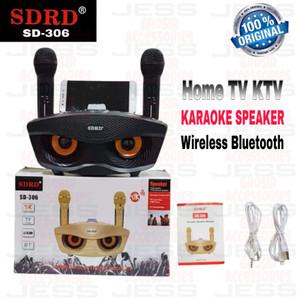 Harga speaker karaoke bluetooth wireless sdrd sd306 dua microphone sd 306   | HARGALOKA.COM