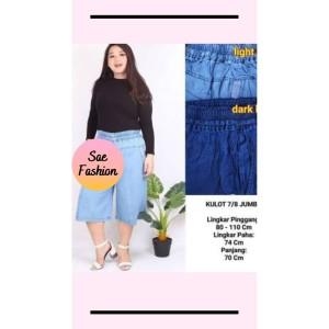 Harga celana kulot wanita 7 8 size jumbo bahan jeans denim   | HARGALOKA.COM