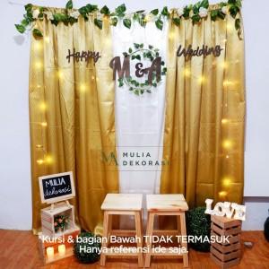 Harga dekorasi lamaran backdrop nikahan satin gold photobooth diy akad | HARGALOKA.COM